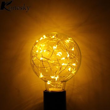 Konesky Vintage Fairy LED Bulb G80 E27 110-240V String light Filament lamp For Decor Holiday Wedding lighting