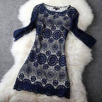 Blue Long Sleeve Lace Dress #087