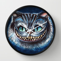 Cheshire Cat Wall Clock by hannahclairehughes