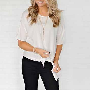 * Sumter Blouse With Tie : Off White