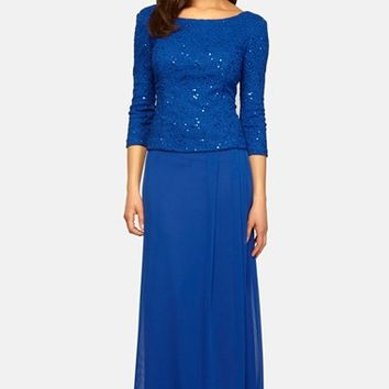 Women's Alex Evenings Sequin Popover Gown,