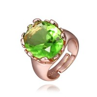 18K Rose Gold Plated Olivine Round Swarovski Elements Crystal Ring, Size 8