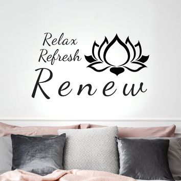 Vinyl Wall Decal Lotus Relax Refresh Renew Yoga Center Meditation Stickers Mural 20 in x 35 in gz265