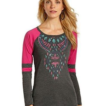 Rock amp Roll Cowgirl Womens and Aztec Graphic Varsity Tee  48T3530