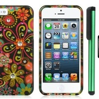 """Spot Diamond Rhinestone Green Daisy Flower on Black Premium Design Protector Hard Cover Case Compatible for Apple Iphone 5 (AT&T, VERIZON, SPRINT) + Screen Protector Film + Combination 1 of New Metal Stylus Touch Screen Pen (4"""" Height, Random Color- Black,"""