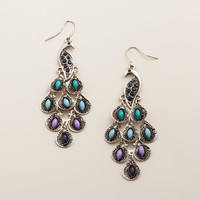 Silver Peacock Drop Earrings - World Market