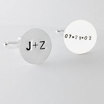 Personalized Cuff links Sterling Silver Hand Stamped Couple's Initials + Custom Date