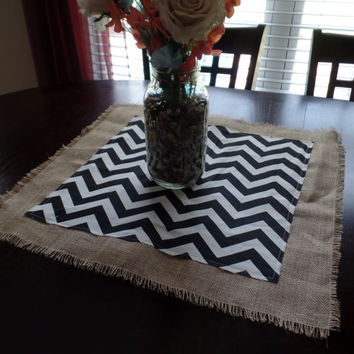 Burlap and Floral Print or Chevron Duck Cloth Table Square , Table Centerpiece, Burlap Placemat,