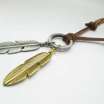 Hunger Games Necklace soft leather feather by braceletcool on Etsy