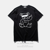 Bear and Letter Print T-Shirt