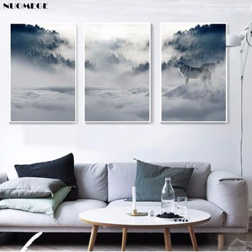 Canvas Paintings Wall Art  Prints 3 Pieces Forest Wolf Landscape  Pictures Sunset Landscape Posters Home Decor Living Room