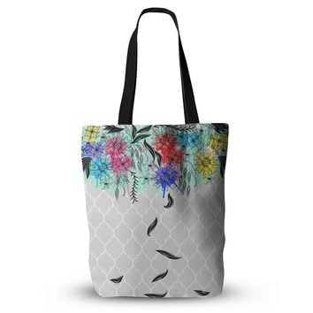 "Famenxt ""Watercolor Spring"" Gray Floral Everything Tote Bag"