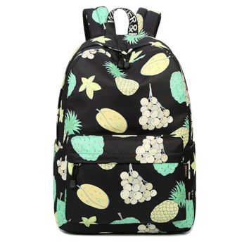 Black Fruits Canvas Lightweight Sturdy Roomy Fruits Pattern Backpack School Bag Travel Daypack