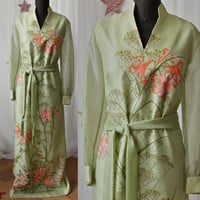 Alfred Shaheen 60's Celery Green and Fluorescent Screen Print Lilies and Queen Anne's Lace Maxi Hostess Dress with Tie Belt