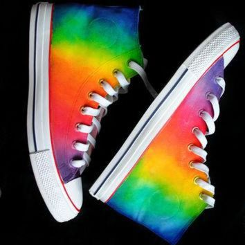 CUPUPH3 Custom handpainted rainbow sneakers,personalized shoes, rainbow converse, rainbow vans