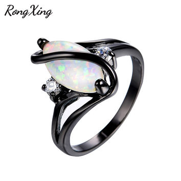 RongXing Unique Horse Eye White Fire Opal Rings For Female Wedding Fashion Jewelry Vintage Black Gold Filled Women Ring RB0981