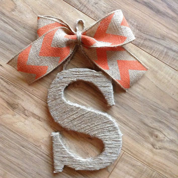 Personalized twine-wrapped letter door hanger