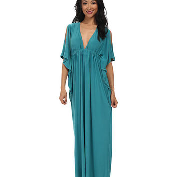 Tbags Los Angeles Open Sleeves Bat Wing Maxi Dress with Cutout Back