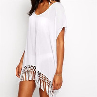 2017 Summer Sexy Beach Dress With Tassels Pareo Beachwear Tunic White Chiffon Sarong Swimsuit Dress Swimwear-0412