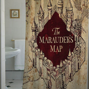 the marauders map shower curtain that will make your bathroom adorable