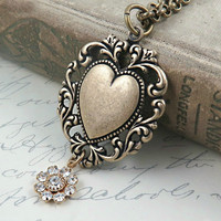 Lace Heart Pendant with Rhinestone Flower