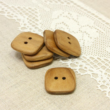 Square wooden buttons. Set of 6 natural rowan wood buttons size 1 in (25mm) - R6651