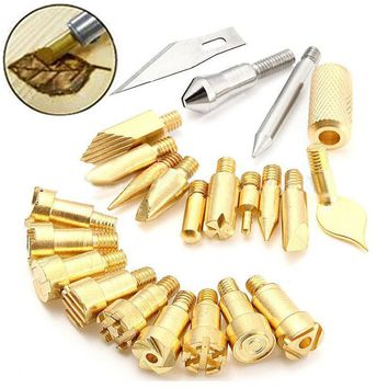 22pcs New Wood Burning Pen Tips Stencil Soldering Iron Tip For Pyrography Woodworking Carving Tool
