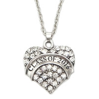 Class of 2016 Crystal Necklace Jewelry Pendant Graduation Friendship Gift Girl's Vintage Heart Silver Various Colors