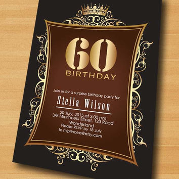 Crown Gold birthday invitation, glam gold glitter design invitation for any age Party invitation elegant golden Card Design - card 269