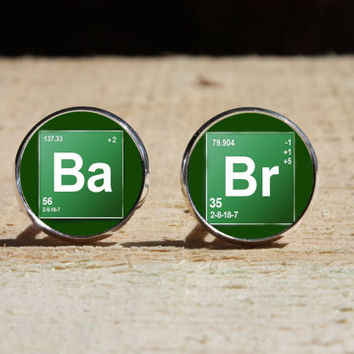Breaking Bad Cufflinks, Br Ba wedding cuff link, glass dome cuff links, gift for Him Her nekel free