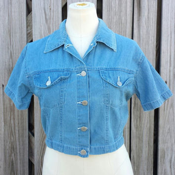 Vintage Denim Crop Top - Denim Shirt - Super Cute - Denim Republic - Size S