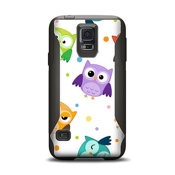 The Cartoon Emotional Owls with Polkadots Samsung Galaxy S5 Otterbox Commuter Case Skin Set