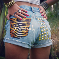 Tiger Print shorts, High waisted Levis studded Denim shorts, High rise distressed shorts by Jeansonly