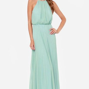 Posh Girl Mint Green Pleated Maxi Dress