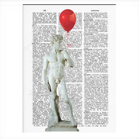 Vintage Dictionary Paper David's Red Balloon Dictionary Art Print