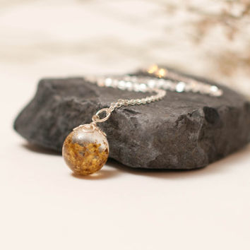Eco Chic Yellow Meadowsweet Flowers in a Globe Pendant, Eco Friendly Jewelry, Botanical, Real Flower Jewelry, Spring Jewelry