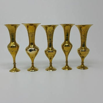Vintage Brass Bud Vases India Brass Set of Five 6 inch Vases