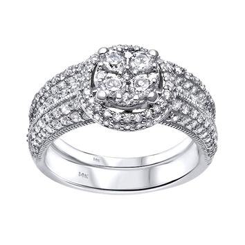 1.47ct Diamonds in 14K White Gold Wedding Set Halo Ring