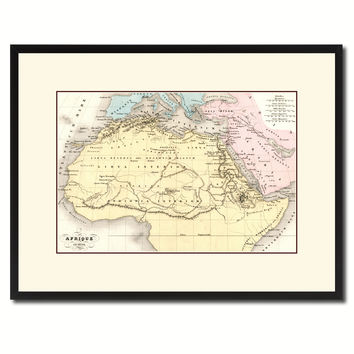 Ancient Africa Vintage Antique Map Wall Art Home Decor Gift Ideas Canvas Print Custom Picture Frame