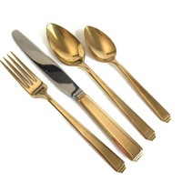 Art Deco Style Gold Flatware Set for Seven Englishtown Crafts USA, Gold Electroplate Flatware, Gold Forks, Knives, Tea Spoons, Gold Cutlery