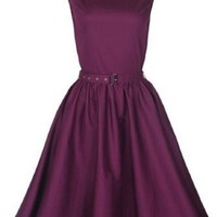 Lindy Bop Classy Vintage Audrey Hepburn Style 1950's Rockabilly Swing Evening Dress (XL, Plum)