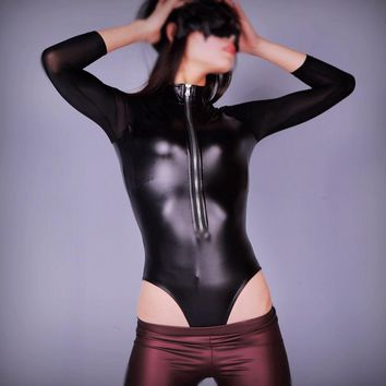 Sexy Plus Size Ice Silk Mesh Patchwork Bodysuit High Cut Latex Faux Leather Shiny Body suit Matt Catsuit Dance Wear For Wome 96