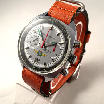 POLJOT STURMANKIE Aviator CHRONOGRAPH,  Rare Russian watch!!! Vintage men's wristwatch, new leather band!!!