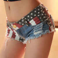 Jeans Shorts with US Flag B001
