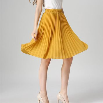 Chiffon Midi Skirt Women Summer Vintage High Wait Solid Candy Color  Pleated Skirts Casual loose