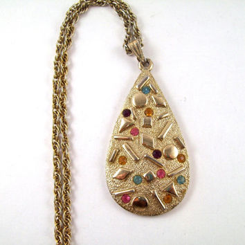 Vintage Sarah Coventry Gold and Gemstone Necklace