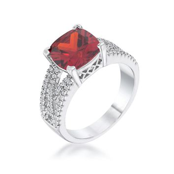 3Ct Elegant Silvertone Criss-Cross Garnet CZ Engagement Ring, Size 5