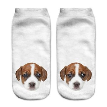 Brown Puppy Ankle Socks