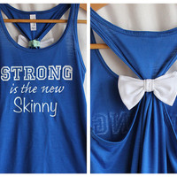 Strong is the New Skinny Flowy Blue  SMALL by personTen on Etsy