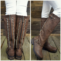 Easy Rider Light Brown Studded Zipper Riding Boots